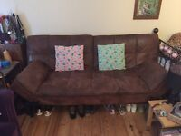 Soft brown leather sofa bed