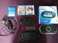 PS Vita (like new) with 4gb memory card, Fifa Football, Virtua Tennis, hard & soft cases and more!