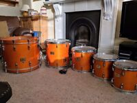 5 Piece Pearl Masters Custom Maple drum kit (including hard cases and drum rack)