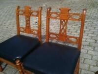 MAHOGANY WOOD WITH BLACK LEATHER SEATS SET OF 6 CHAIRS