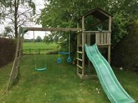 Fantastic wooden climbing frame and play station