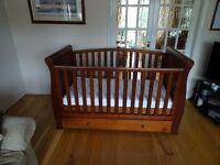 Sleigh Cotbed / cot with mattress, dark finish, convertible to junior bed and sofa, underbed drawer.