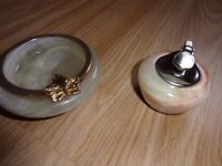 alabaster ashtray and marble petrol lighter for sale