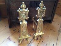 Beautiful brass firedogs andirons