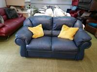 Navy blue leather 2 seater sofa