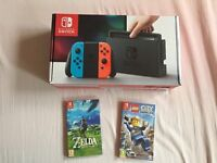 Nintendo switch neon console + Lego and Zelda games