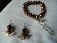 Angel wing bracelet and earring set