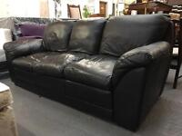 ** BLACK LEATHER 3 SEATER SETTEE - CAN DELIVER **