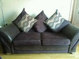 Immaculate chocolate brown settee