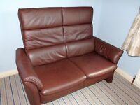Himolla Brown Leather 2 Seater Sofa