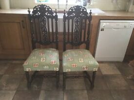 2 CARVED OAK VICTORIAN ANTIQUE CHAIRS