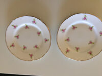 Fine Bone China Royal Stafford tea set - white and gold with small dark pink roses