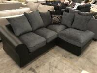 Brand new black and grey corner sofa
