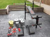 York Fitness Weight Bench + Vinyl Weights