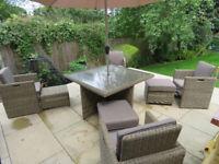 9 Piece Rattan Garden Furniture Set inc Parasol and Covers