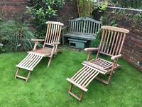 Wooden Garden Steamer Chairs X2