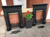 Refurbished Antique Cast Iron Fireplace Vintage Fire Place Surround Man Cave Grate