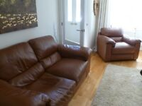 Quality leather three piece suite