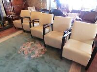 set 5 lounge chairs leather and wood very smart very clean