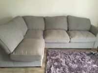 Grey corner suite from smoke and pet free home .cost over £1000 less than 2 years old