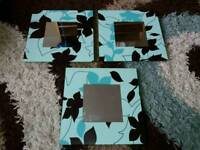 Set of 3 glass canvas mirrors