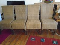 4 wicker dining/conservatory chairs - Very solid, in great condition, hardly used. pick up only