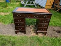 Antique style Mahogany Orange leather top twin pedestal writing desk