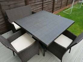 Rattan table and chairs with sofa