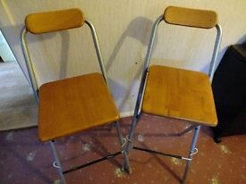 Two metal/wood bar stools