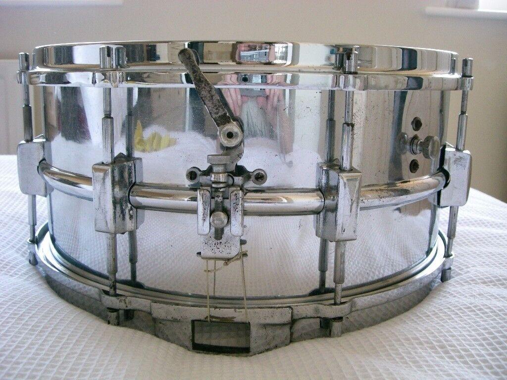 """Vintage NOB snare drum 14 x 6 1/2"""" - 3-point strainer - British? - Un-badged"""