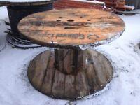 HUGE WOODEN CABLE DRUM REEL / BEER GARDEN TABLE 2.2 METRE