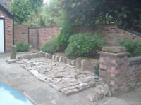 8 square metres reclaimed York Stone for crazy paving + 20 large York Stone setts