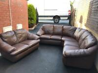 🍁 LUXURY BROWN LEATHER HARVEYS CORNER SUITE @ MATCHING 2 SEATER SOFA