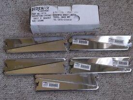 "Unused chrome-plated twin-slot shelving brackets - twenty 220mm long with 2"" base"