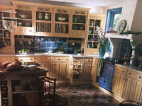 READY FOR COLLECTION: Kitchen with solid light oak doors and drawer fronts, excellent condition £750