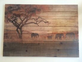 Elephant wood picture