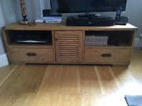 TV Stand with cupboard & shelves; Solid Oak with 2 drawers