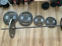 100kg weights and barbell