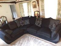 Black fabric L shaped sofa