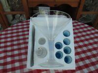 Unique Large Party Cocktail Glass + bottle and 6 blue shot glasses. Ideal; Tequila, Vodka, Martini,