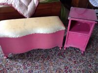 Pink rattan bedside table with glass top and ottoman £30ono