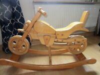 Wooden rocking motorbike