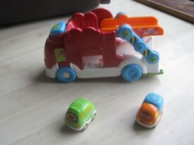Vtech toot toot driver car carrier and 2 cars