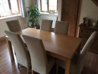 Dinning Table & 6 Fabric Chairs