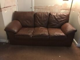 Leather suite, sofa plus 2 armchairs. Mid brown very good condition