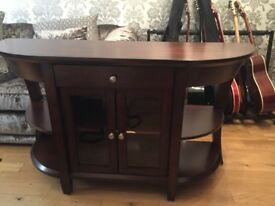 Mahogany curved console / media table as new