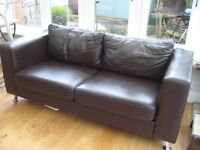 John Lewis brown leather two seater sofa