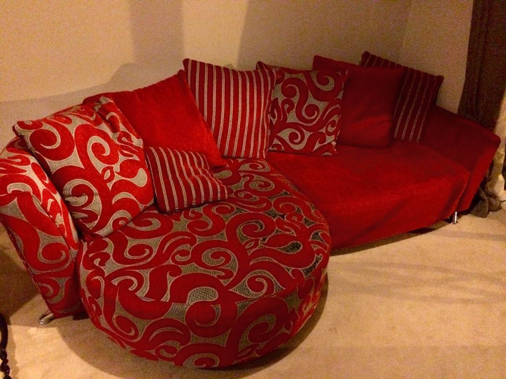 DFS Poise Red 3 Seater Corner Sofa Chaise End In