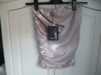 MISSGUIDED NUDE METALLIC SKIRT - SIZE 6 - NEW WITH TAG