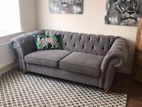 Next Gosford Large Chesterfield Grey Sofa